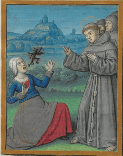 St. Francis performs an exorcism on a woman.